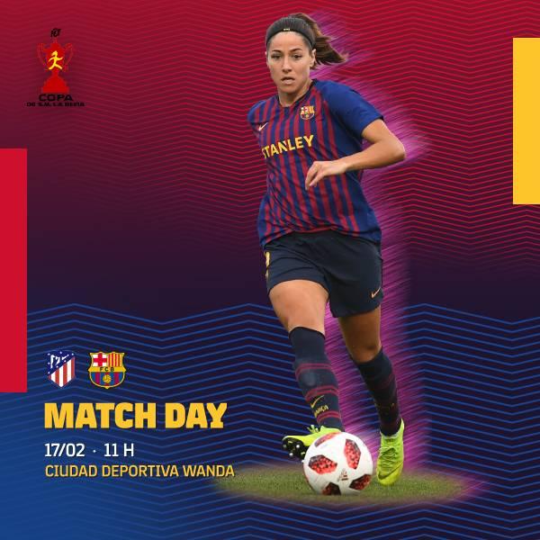 🔥 [MATCH DAY!] 🔥  ⚽️ @AtletiFemenino - @FCBfemeni  🏆 1/2 #Copadela Reina (Partit únic) ⌚️ 11.00h 🏟 Ciudad Deportiva Wanda 📺 Gol 📝 http://ow.ly/YQg930nIXC7   #AtletiBarça #ForçaBarça