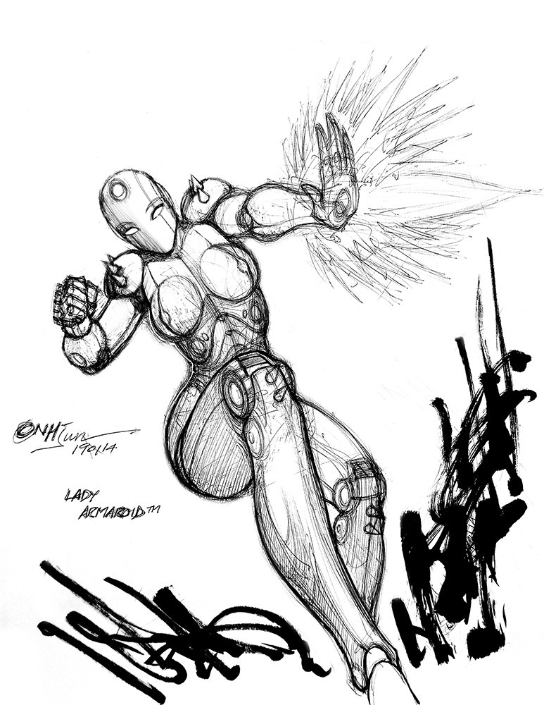 Unstoppable armored droid UPDATE!  #art #artists #artsanity #artlife #comicbookart #comics #manga #anime #illustrations #sketches #drawings #characterdesign #penandink #brushpen #ballpoint #pen #biro #robot #droid #fembot #anhjun #LadyArmaroid #fanart #robot #scifiart
