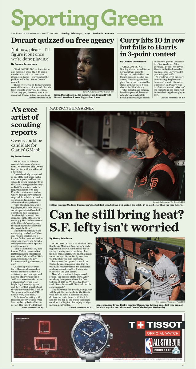 Sunday's Sporting Green: @Con_Chron on All-Star Weekend and @KDTrey5 free agency, @susanslusser on Billy Owens as a possible candidate for the Giants' GM position and @hankschulman on Bumgarner's recovery.  https://www.sfchronicle.com/sports/   #sfgiants #oaklandas #kevindurant #warriors