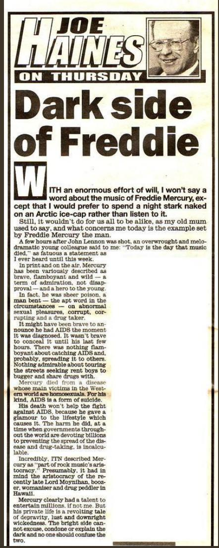 I was 17 when Freddie died and The Daily Mirror published this article by Joe Haines.   We've come a long way.