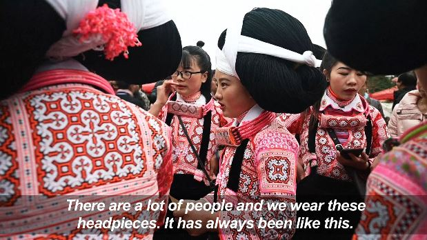 VIDEO: 🇨🇳 Girls with headpieces made partly from their ancestors' hair dance in villages in Guizhou province, southwest China to celebrate the Lunar New Year and honour their Miao ancestry