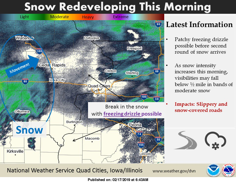Light to moderate snow already redeveloping in south-central and east-central Iowa. #iawx #ilwx #mowx #snow #winter