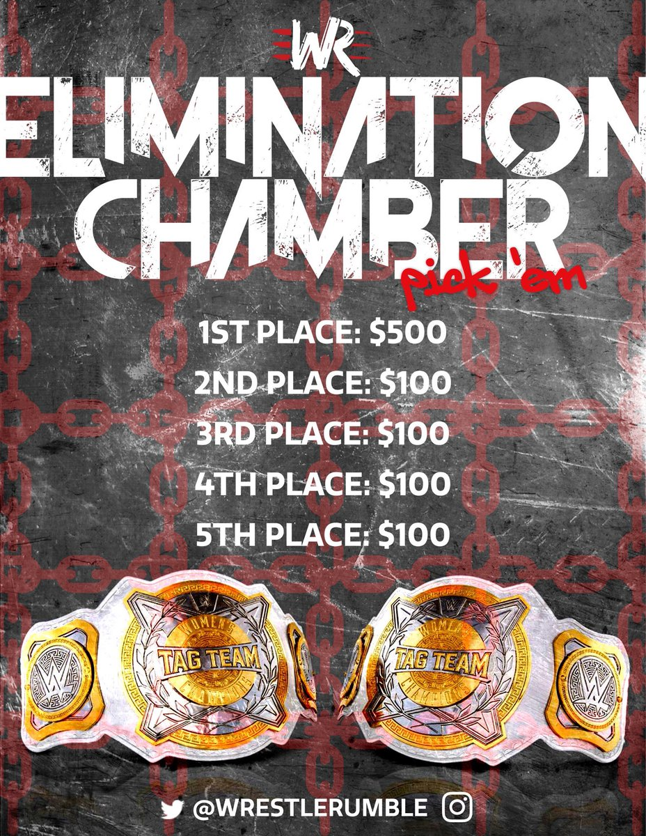 #WWEChamber day is here! Play @WrestleRumble #EliminationChamber pick'em at http://WRESTLERUMBLE.com #wwe