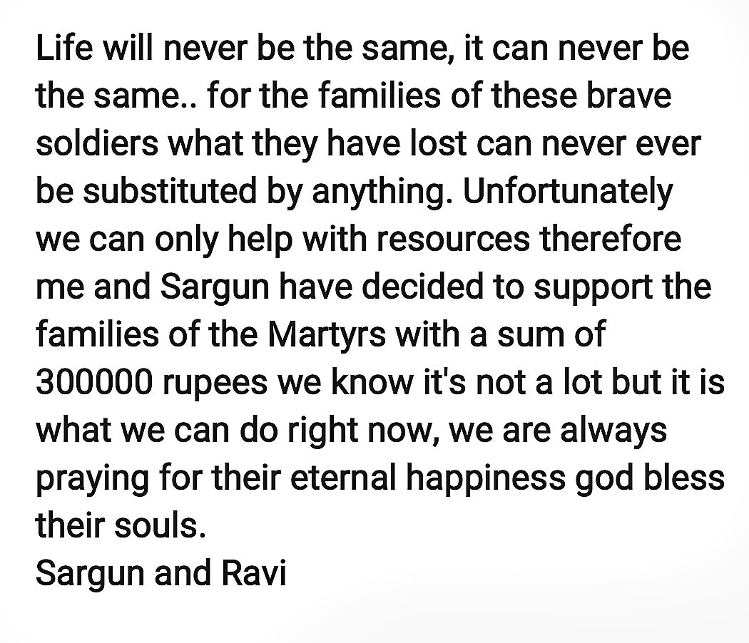 Yes we could have done this privately ...but we too got inspired to take action and contribute whatever little we could because we saw one of our peers post ...I hope it inspires others to contribute and support .. #JaiHind #JaiBharat #PulwamaAttack