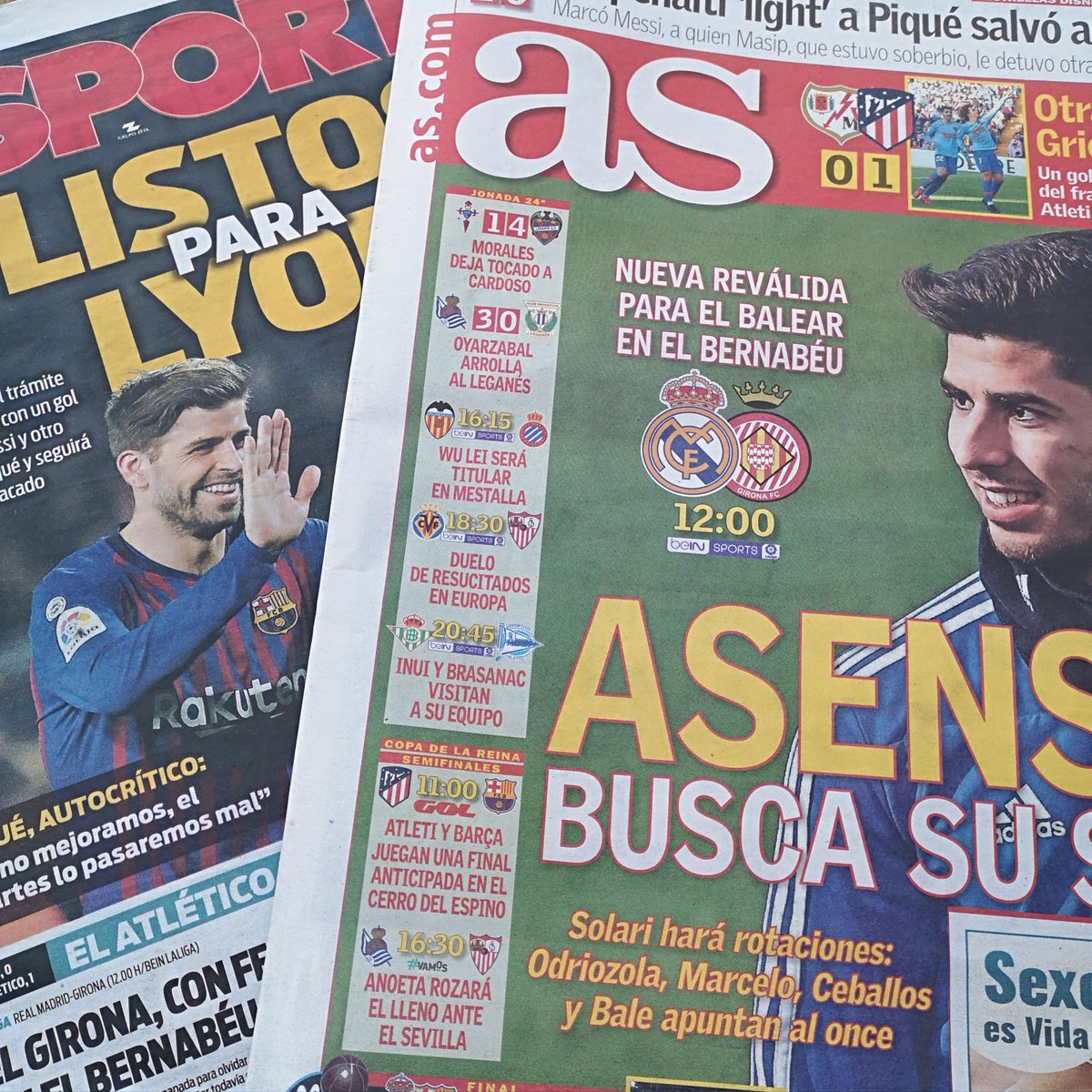 "Those 🇪🇸⚽️ headlines:  🗞️ ""Ready for Lyon"" (Sport) 🗞️ ""A win without feeling"" (Mundo Deportivo) 🗞️ ""Asensio looks for his place"" (As) 🗞️ ""It's his moment"" (Marca)  More in the #tsfp Morning Paper Review for patrons ➡️ https://www.patreon.com/posts/24760624"