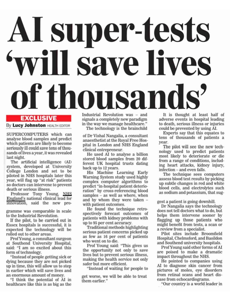 AI blood tests to save thousands  reveals NHS England innovation lead @DrTonyYoung