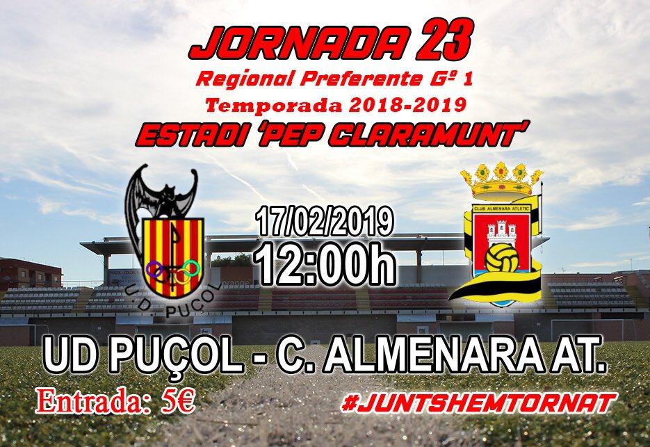 JORNADA 23 |  ¡Nostra misa de diumenges!  📆 Diumenge 17 de febrer 🆚 Club Almenara At. 🕙 12:00h 📍 'Pep Claramunt'  Els nostres PATROCINADORS també juguen el partit 🤜🏼🤛🏼  #UDPuçol #JuntsHemTornat #Jornada23 #MatchDay
