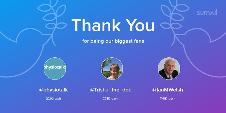 test Twitter Media - Our biggest fans this week: @physiotalk, @Trisha_the_doc, @IanMWelsh. Thank you! via https://t.co/Smxnf7IYIv https://t.co/VcO1Fi4cSM