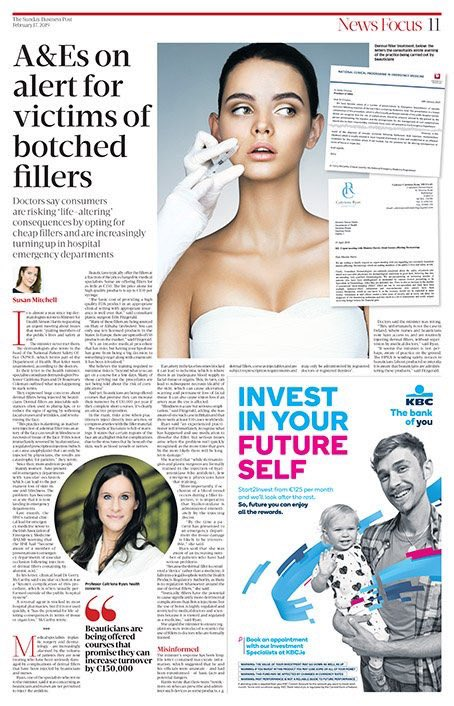 Amazing story in @sundaybusiness on people getting fillers by non doctors in beauticians. if you are really concerned about cost , get the paper. make a booking @VisageCork this coming week and bring the paper with you for a 20% discount on any filler treatment performed