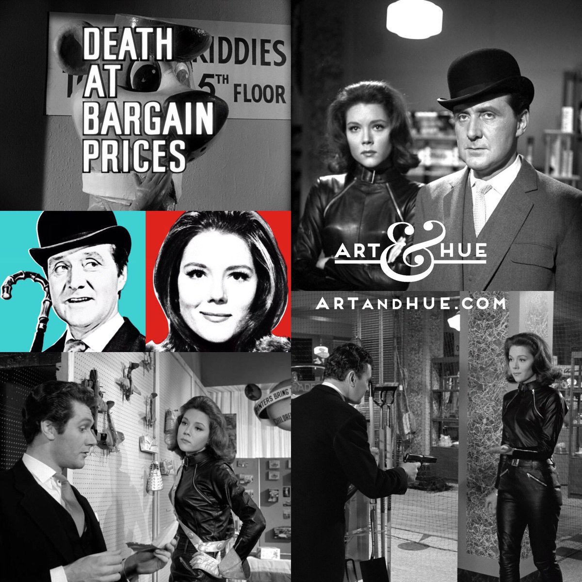 """That's a wrap! On this day in 1965, The Avengers episode """"Death at Bargain Prices"""" finished filming at Elstree Studios.   http://artandhue.com/theavengers   #dianarigg #mrspeel #patrickmacnee #johnsteed #MadeAtElstree #OnThisDay #OTD #TheAvengers #DeathAtBargainPrices #DameDianaRigg"""