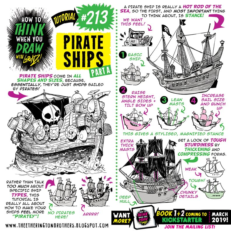 How to THINK when you draw PIRATES SHIPS Part A  for #SkillUpSunday is HERE: http:// theetheringtonbrothers.blogspot.com/2019/02/how-to -think-when-you-draw-pirate-ships.html &nbsp; …  NEWSFLASH! We have a tutorials BOOK KICKSTARTER coming SOOOOOON! #gamedev #animationdev #pirates #comicart #gamedesign #gameart #conceptart #arttips #HowtoTHINKwhenyouDRAW #DRA<br>http://pic.twitter.com/3dLat3A01C
