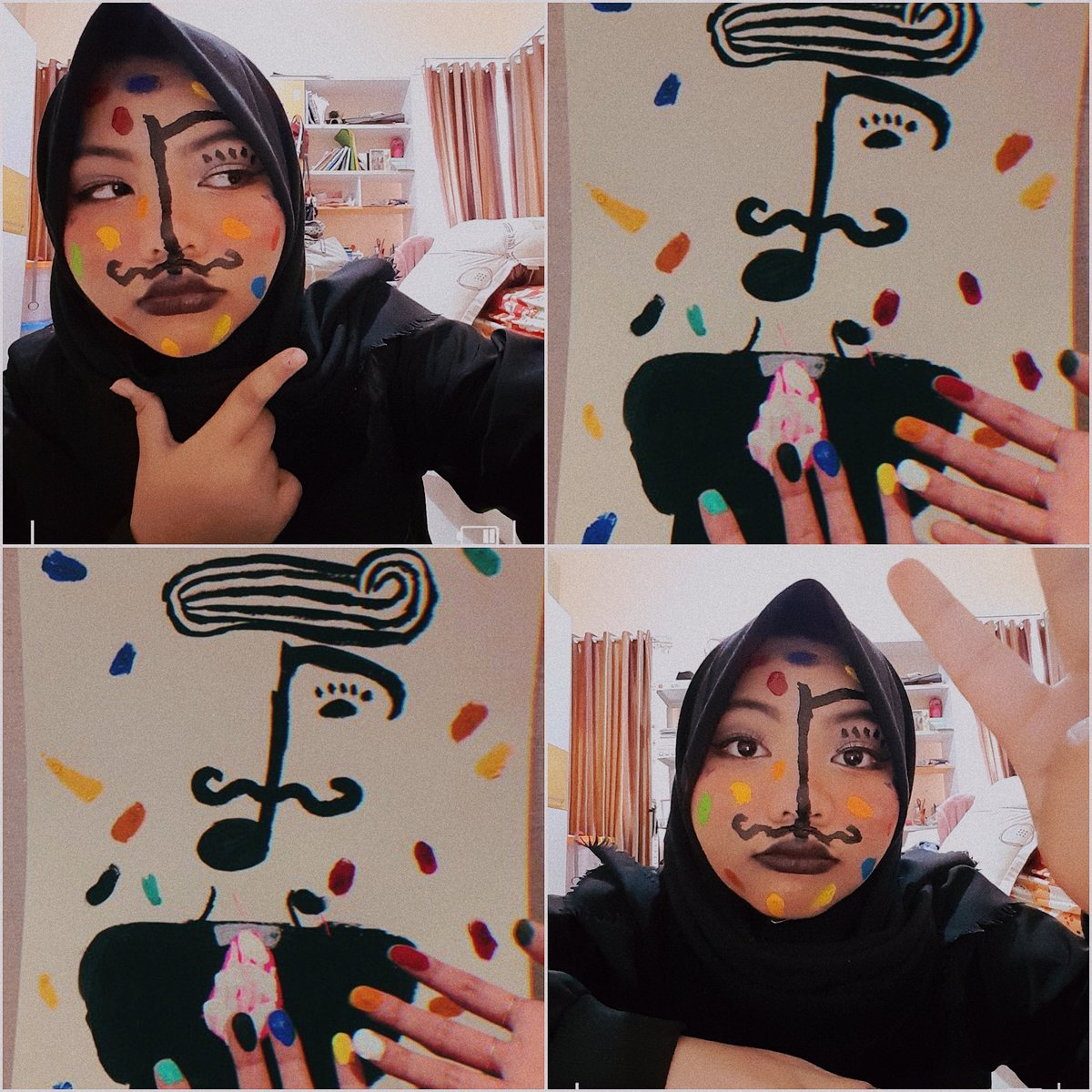 Had a little fun with Taehyung&#39;s painting today. Does this count as #ARMYSelcaDay ??  . . Literally ignored my now melted ice cream crepes to finish whatever this is please like it y&#39;all  <br>http://pic.twitter.com/egtXpb6xip