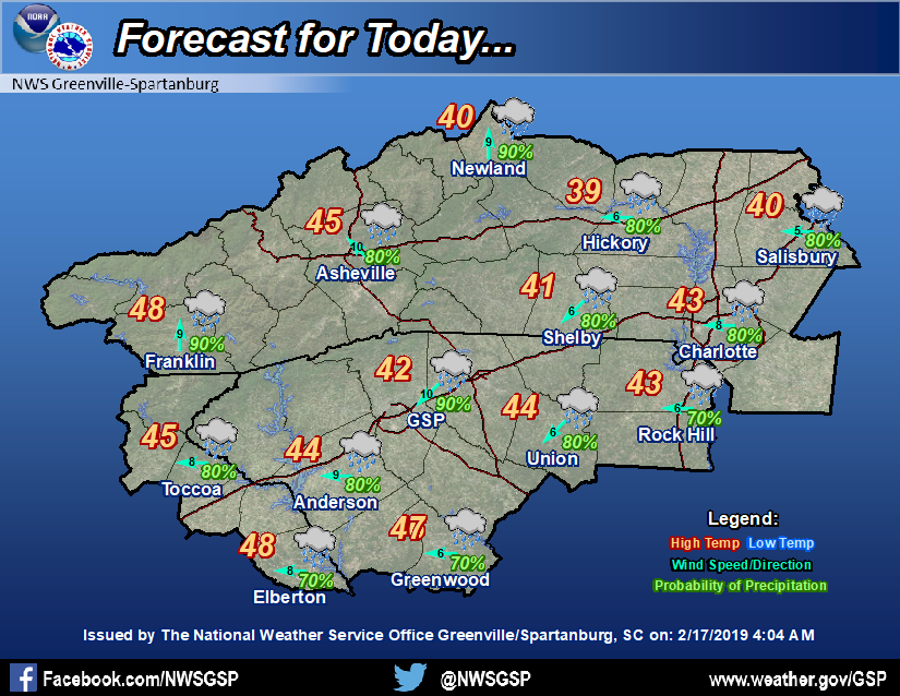 Today's forecast for the western Carolinas and northeast Georgia #ncwx #scwx #gawx