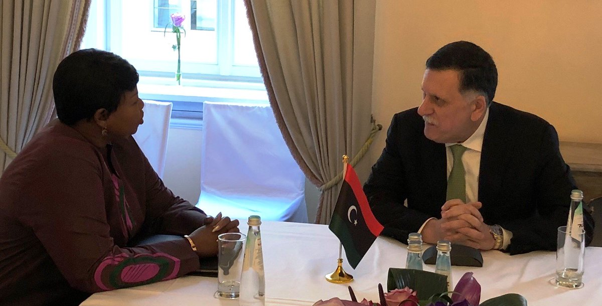 ICC Prosecutor #FatouBensouda & H.E. FM al-Sarraj Prime Minister of Government of National Accord #Libya at #MSC2019 stress importance of accountability for atrocity crimes as an important component of security, & stability in Libya; vow continued close cooperation 2 end impunity