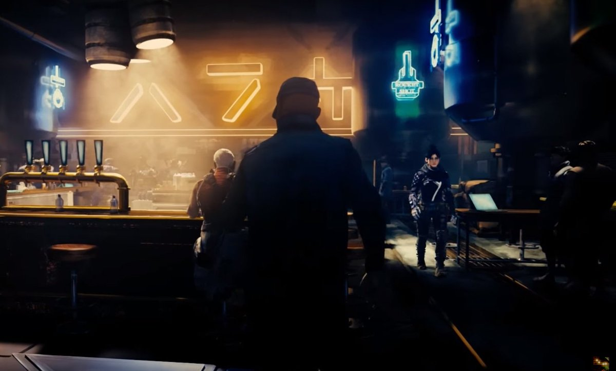 Some things I picked up from the Apex Legends intro:  - Wraith casually walking in the bar. - The Apex Games is currently in its 124th Season. - Bloodhound was the Champion twice in the past four seasons, debuting in the 121st Season.  - Everybody loves Bloodhound&#39;s mask. <br>http://pic.twitter.com/mVfht4JcRO