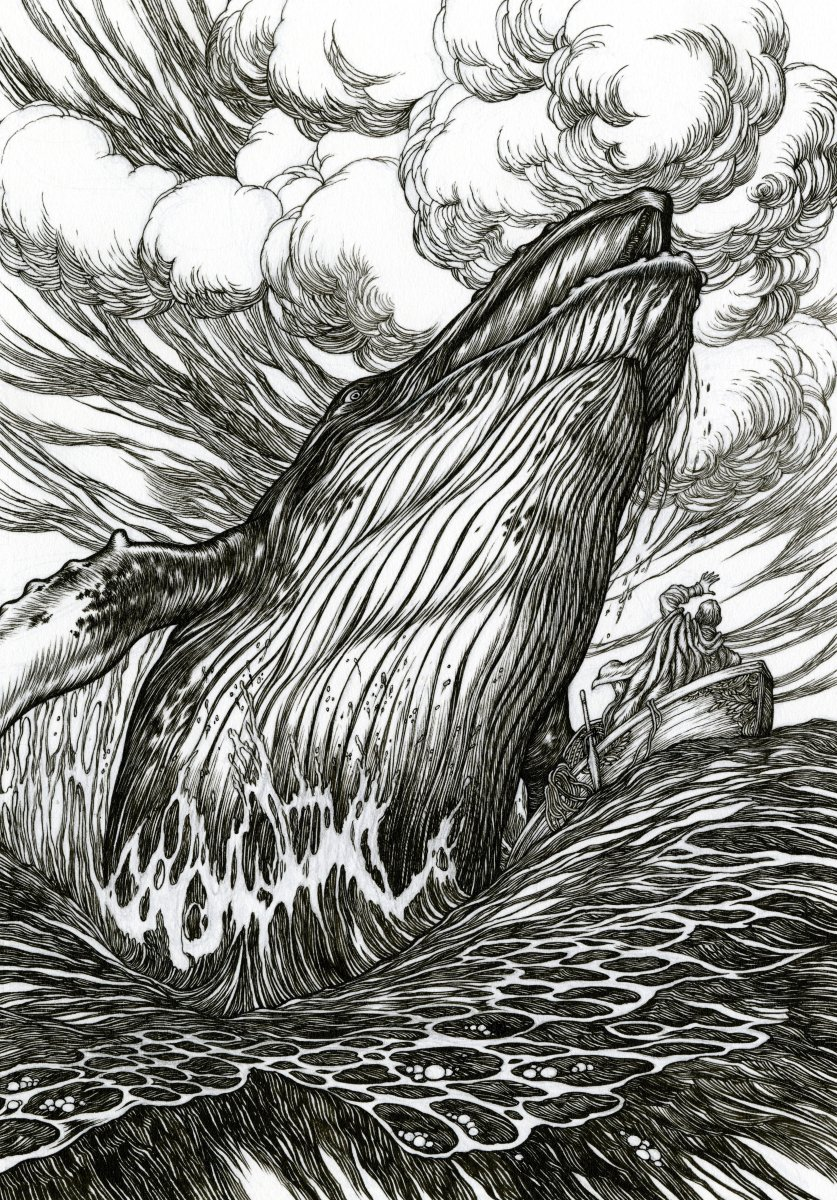Some of my whale illustrations for a belated #WorldWhaleDay.   1. Illustration for the Grimm tale, &#39;Three Sisters&#39;  2. The whale and &#39;Stute fish (which I drew as a coelacanth), for Kipling&#39;s Just So Stories  3. Hope and Dippy  4. The whale and the mariner, Just So Stories <br>http://pic.twitter.com/gbps1zxtPx