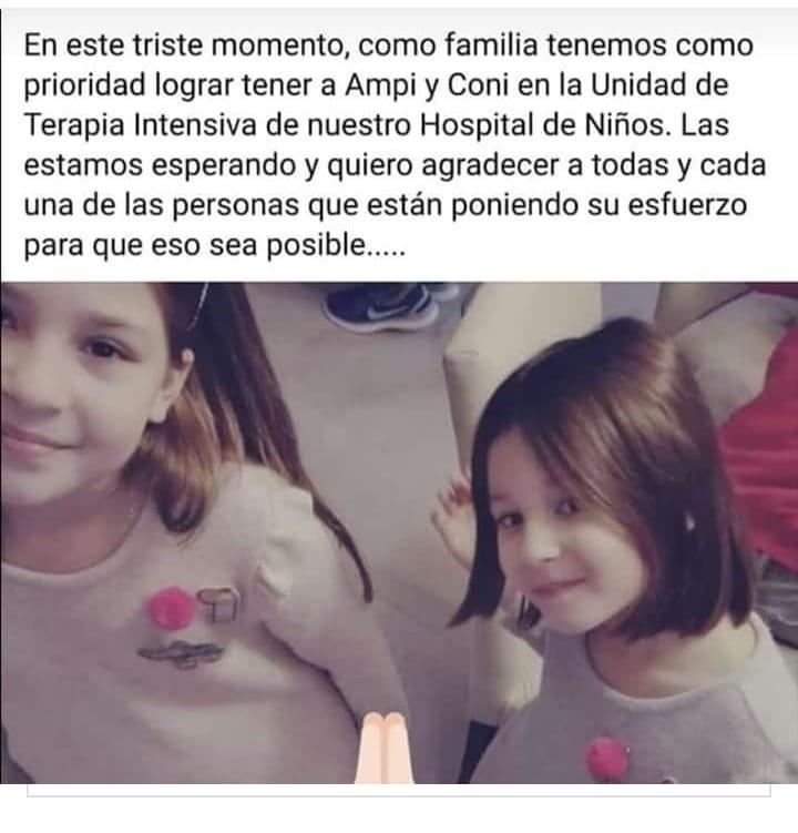 Sus padres murieron en un accidente terrible. Ellas están internadas y su familia reclama un avión sanitario para trasladarlas a La Plata. La política dice que sí, pero Pasan las horas y los días, y el avión no aparece. Por favor, RT.