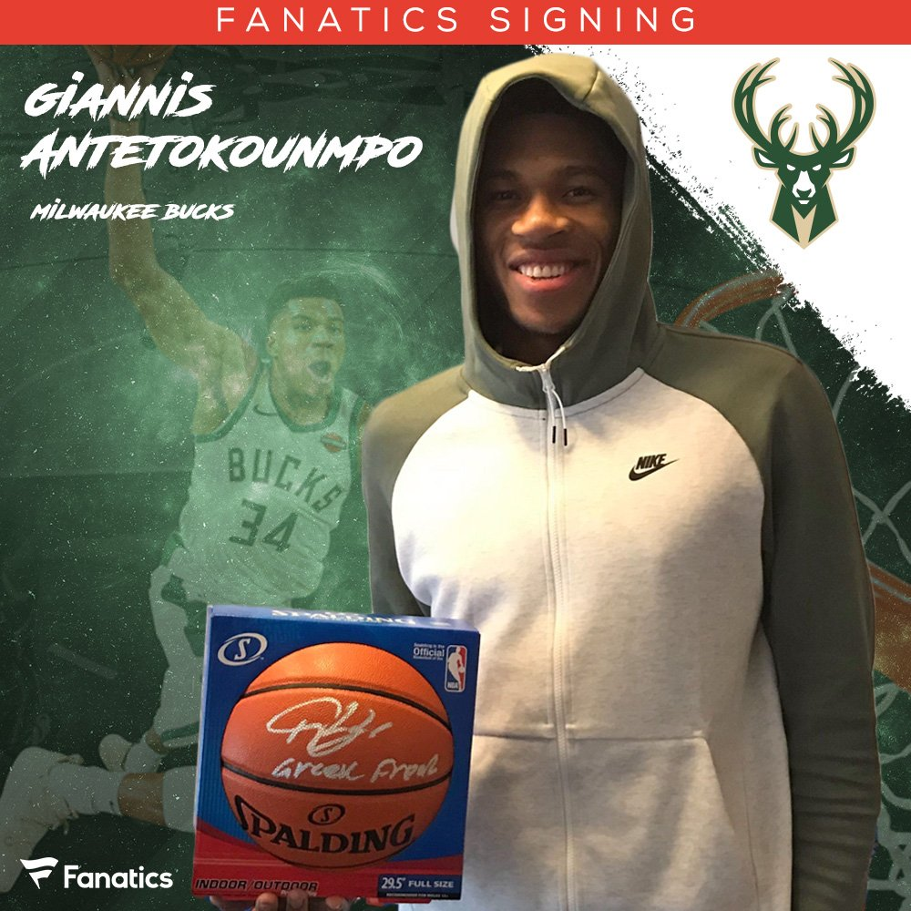 Awesome seeing #NBAAllStar @Giannis_An34 who signed new @Bucks collectibles during #NBAAllStarWeekend for @Fanatics including some #GreekTheFreak inscriptions 🔥! #TeamGiannis | #FearTheDeer