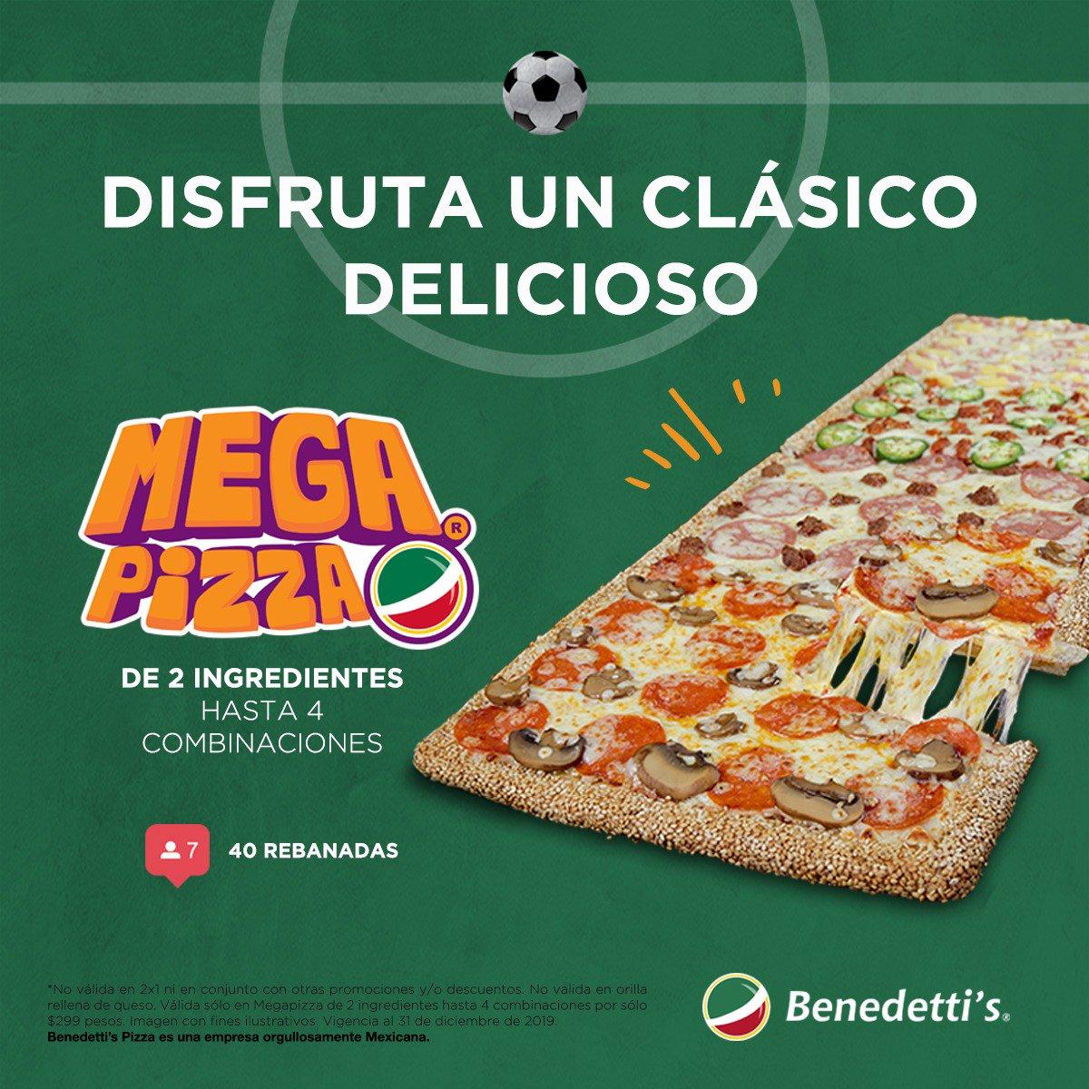Vive la intensidad del fútbol ⚽️ con una deliciosa #MegaPromoción 😋 Únicamente en #BenedettisPizza 🍕 #FelizDomingo #ClasicoCapitalino  📱💻Pide en línea http://online.benedettis.com  💻💻