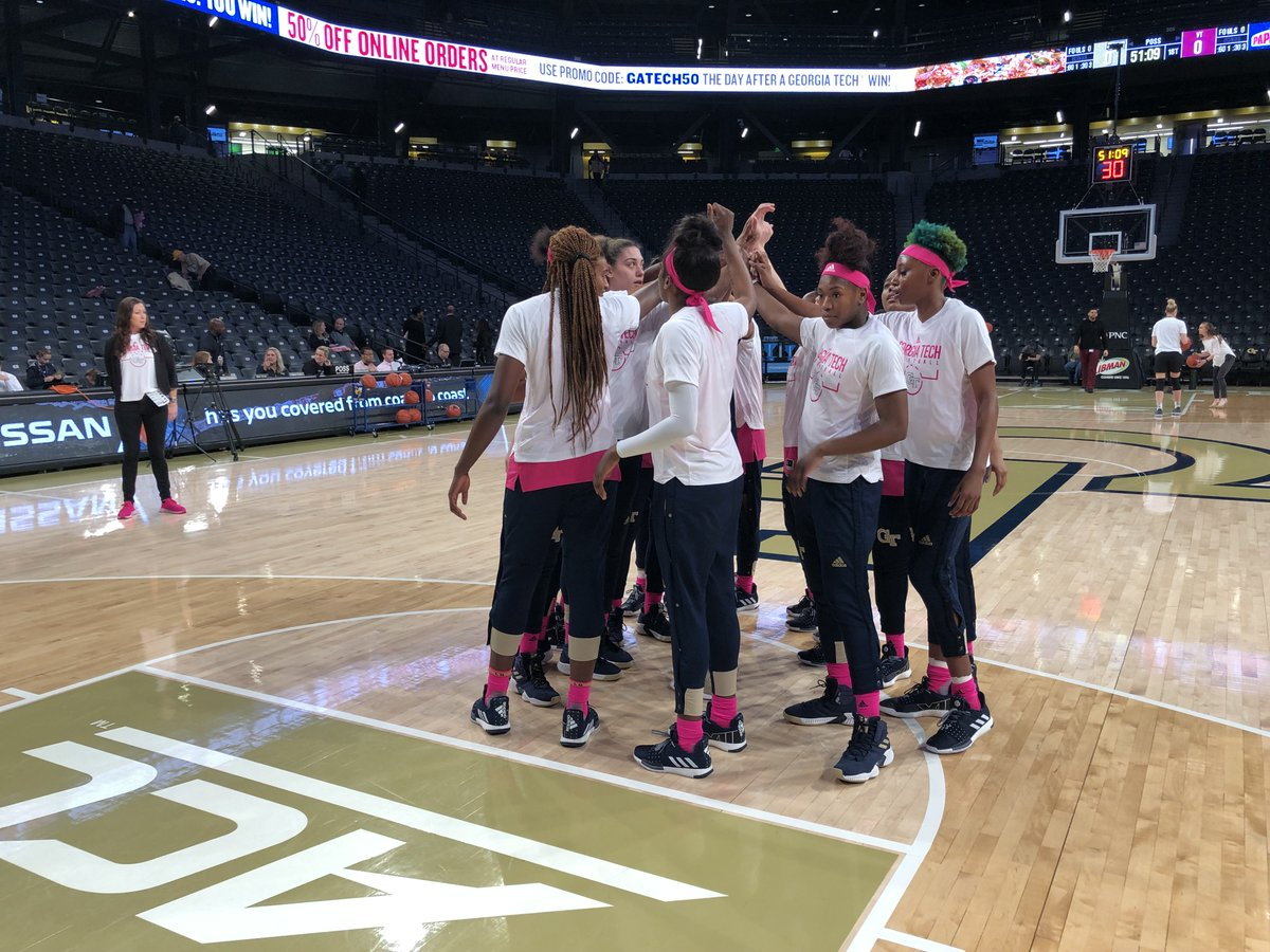 Tip coming up shortly against Virginia Tech. Follow along:              ⏰: 1 pm   📍: McCamish Pavilion   💻: https://buzz.gt/WBBLiveStats                          📺: https://buzz.gt/2T0AMF6 ; @FOXSportsSouth    🎙️: http://buzz.gt/WREKListenLive   #Play4Kay