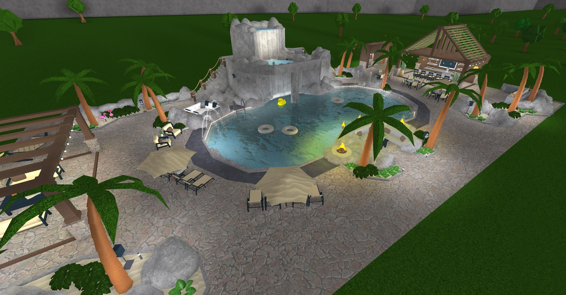 Froggyhopz On Twitter I Wanted To Focus On A Particular Area Of A Build The Backyard This Tropical Oasis Features A Large Curved Pool Which Has A Rock Formation That Includes