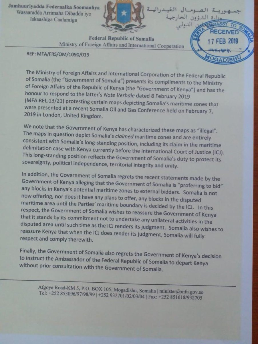 Here is the full statement by Somalia in response to Kenya decision to summon its Ambassador to Mogadishu and instruct Somali Ambassador to Kenya to depart Nairobi.