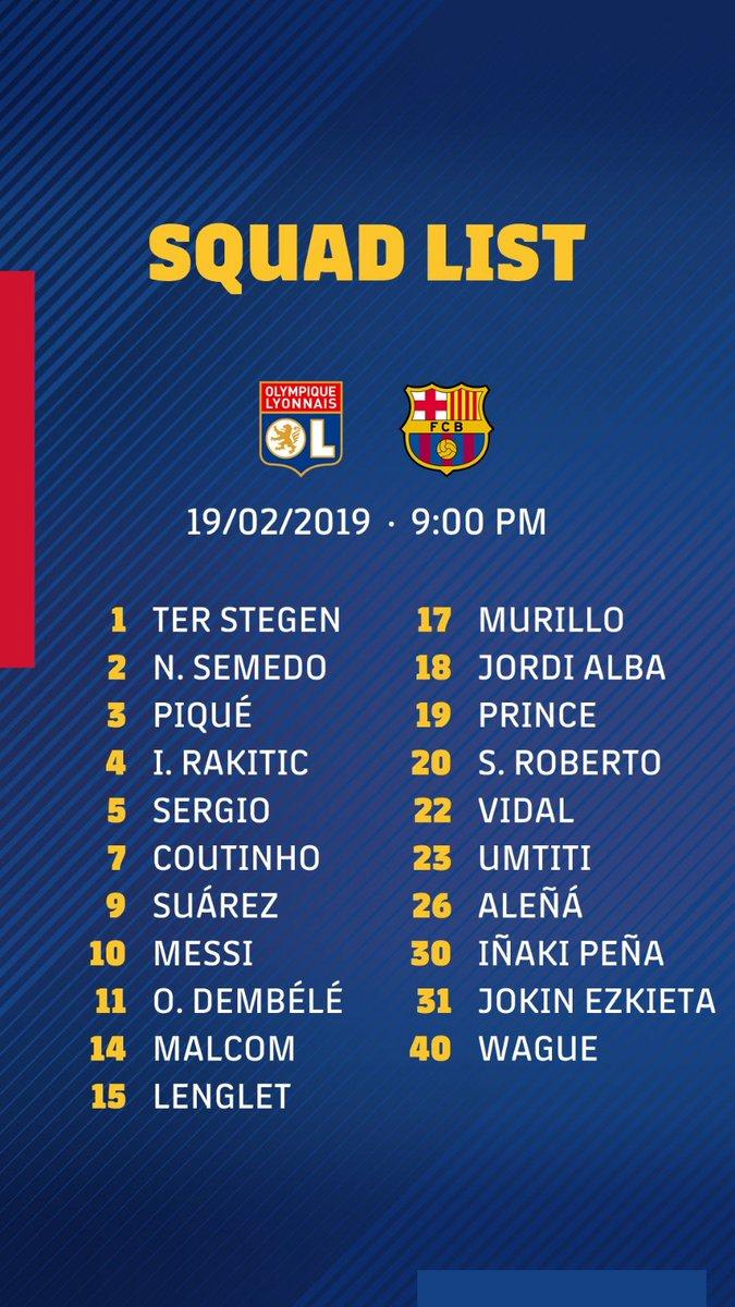 📋 Lista de convocados 👥 ⚽️ #OLBarça 🏆 @ChampionsLeague   🔵🔴 #ForçaBarça