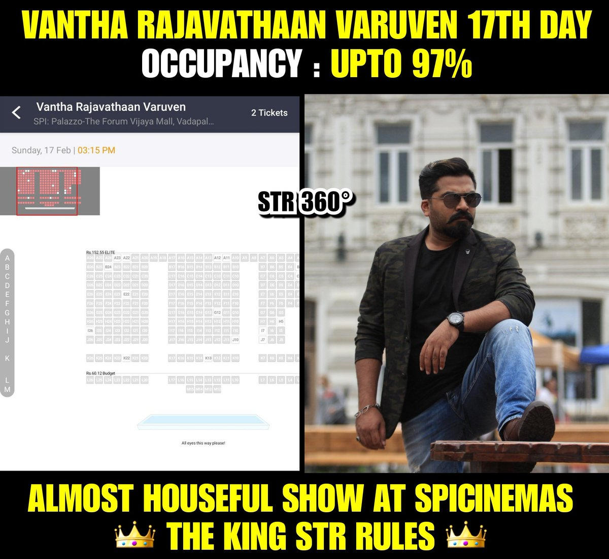 #VanthaRajavathaanVaruven still going steady with outstanding 97% occupancy. Family Audience Raging on 17th day for #STR . Even after plenty of releases for past 2 weeks!  True #VRVFamilyBlockbuster !!  #STRTheKing #vrvblockbuster @LycaProductions @aditi1231