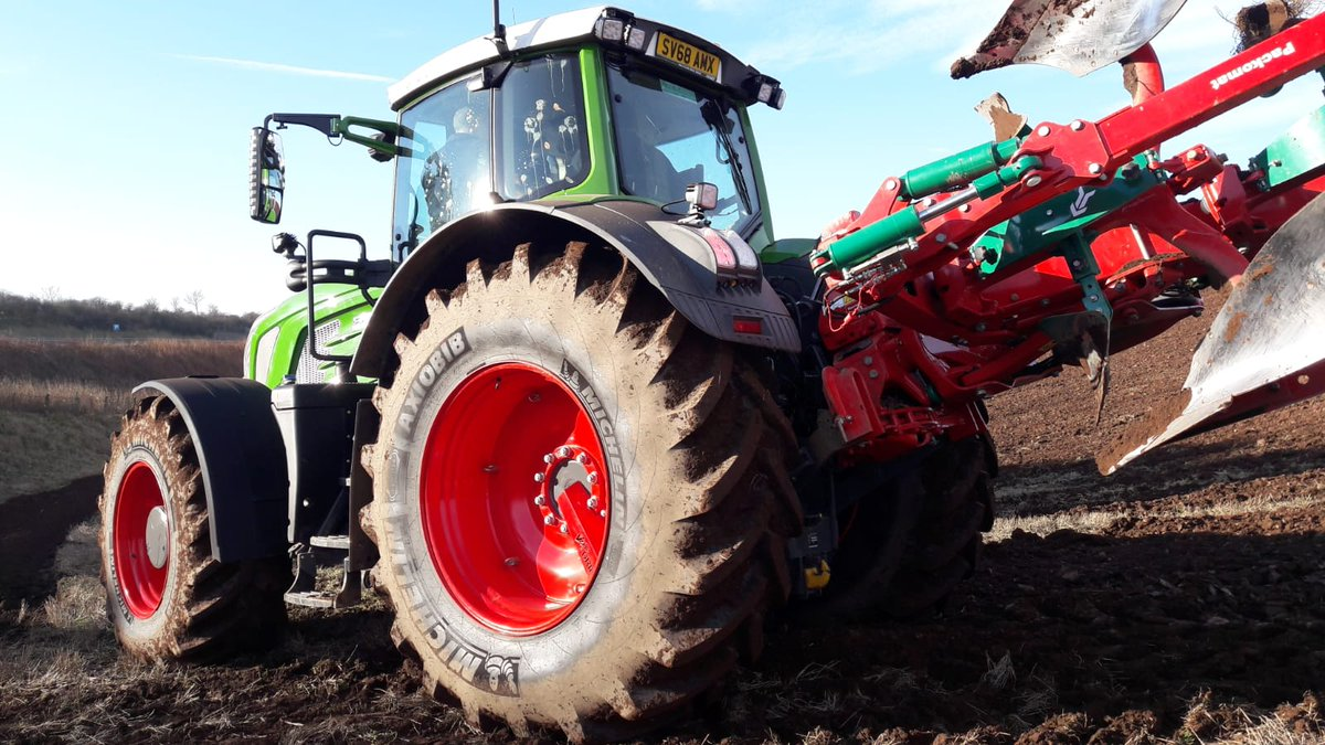 Great to see Hugh Gordon at Clocnahill Farm has his brand new @Fendt_UKIreland 929 out ploughing on 710/75 R42 and 650/65 R34 AxioBib tyres - spec'd as original equipment.  Discover our full AxioBib range: https://bit.ly/2TTCbdQ