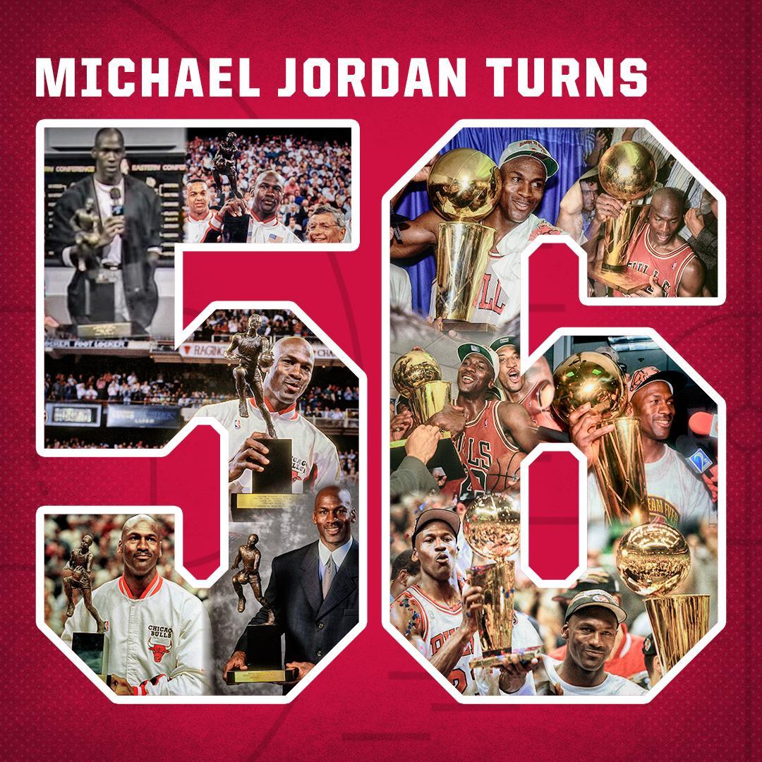 5-time MVP and 6-time NBA champion Michael Jordan turns 56.