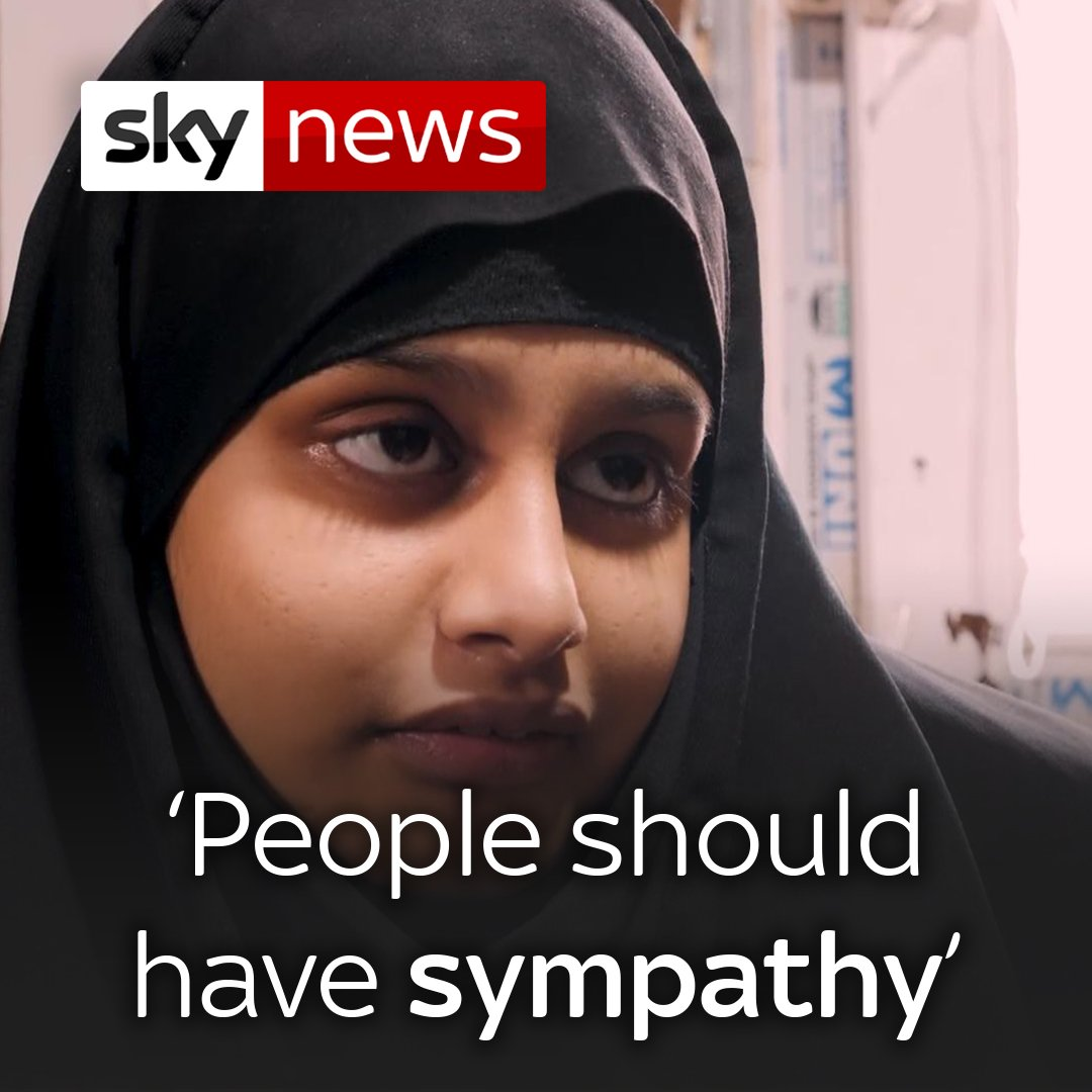 "Shamima Begum tells Sky News ""people should have sympathy"" for what she's been through.   The IS bride says she was ""just a housewife"" and hopes for the sake of her child they will be allowed to return to the UK.   More on this interview here: http://po.st/ax5oEs"