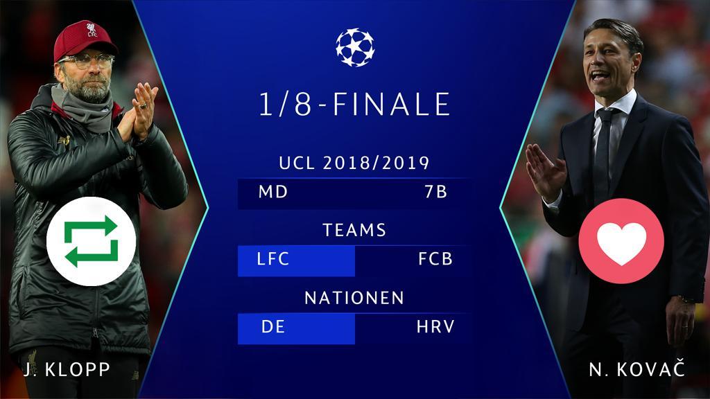 #UCL Countdown! ⏱🙌⚽️       🔁 = Jürgen #Klopp 🇩🇪 ❤️ = Niko #Kovač 🇭🇷       #LFCFCB #LIVFCB @LFC @FCBayern