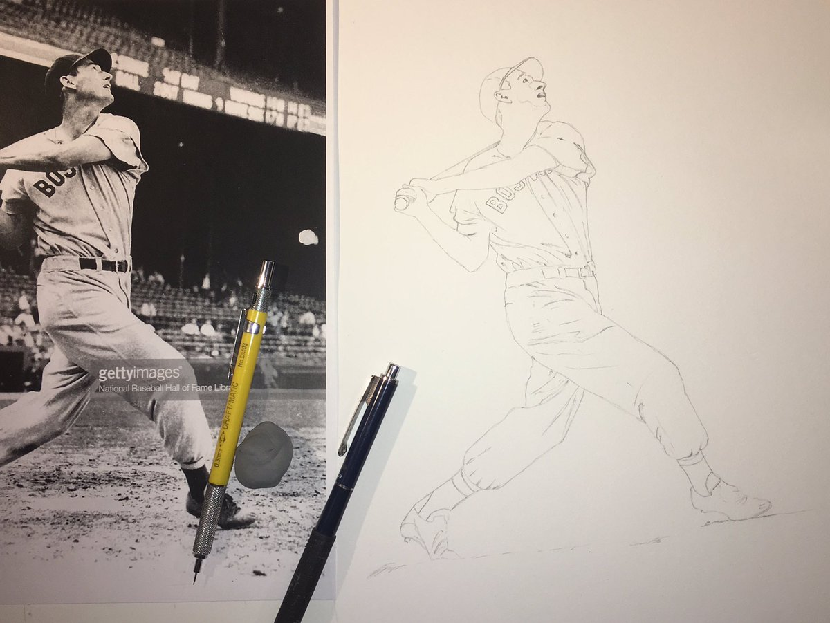 Starting on my first piece of 2019. @RedSox great Ted Williams. @Soxnationfans @MLB #RedSox