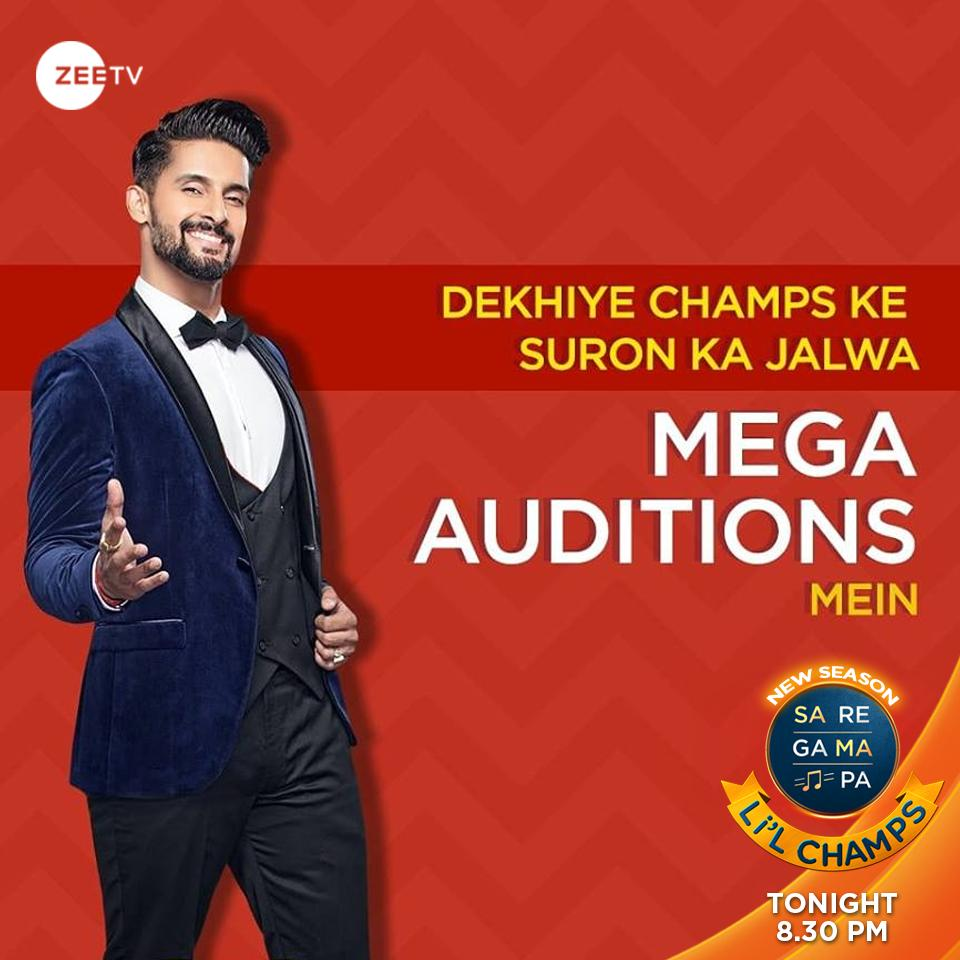 Less than 2 hours to go!  Our champs are coming to win your hearts in the Mega Auditions tonight! Watch #SRGMPLilChamps, at 8 PM only on #ZeeTVME  @_RaviDubey