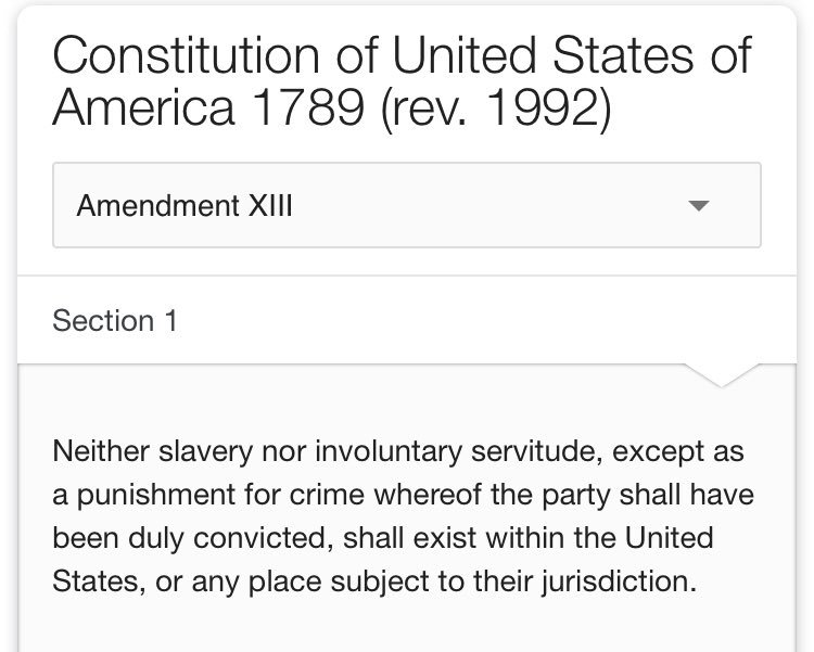This month has made me realize how many black celebrities have been locked up. Then I thought about the 13th amendment in the Constitution. Slavery never ended, it just migrated to the prison system LITERALLY. I guarantee you the majority of African Americans have never read this <br>http://pic.twitter.com/YstVkhcjKI