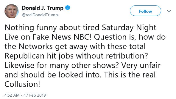 The president calls for 'retribution' against a comedy show that makes fun of him.