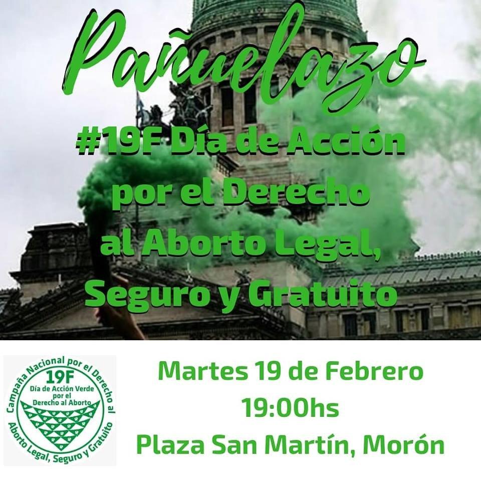 #19F en #Moron #BsAs ✊ Plaza San Martín 💚 19 hs Pañuelazo #SeguimosHaciendoHistoria