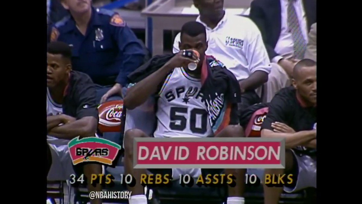 25 years ago today, David Robinson racked up a quadruple-double. Nobody's done it since.  34 points 10 boards 10 assists 10 blocks