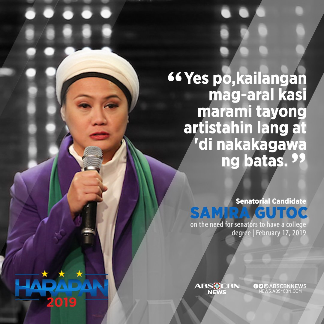 Brains not beauty: Senatorial aspirant Samira Gutoc expressed support for the suggestion that senators should have a college degree. #Harapan2019  #Halalan2019