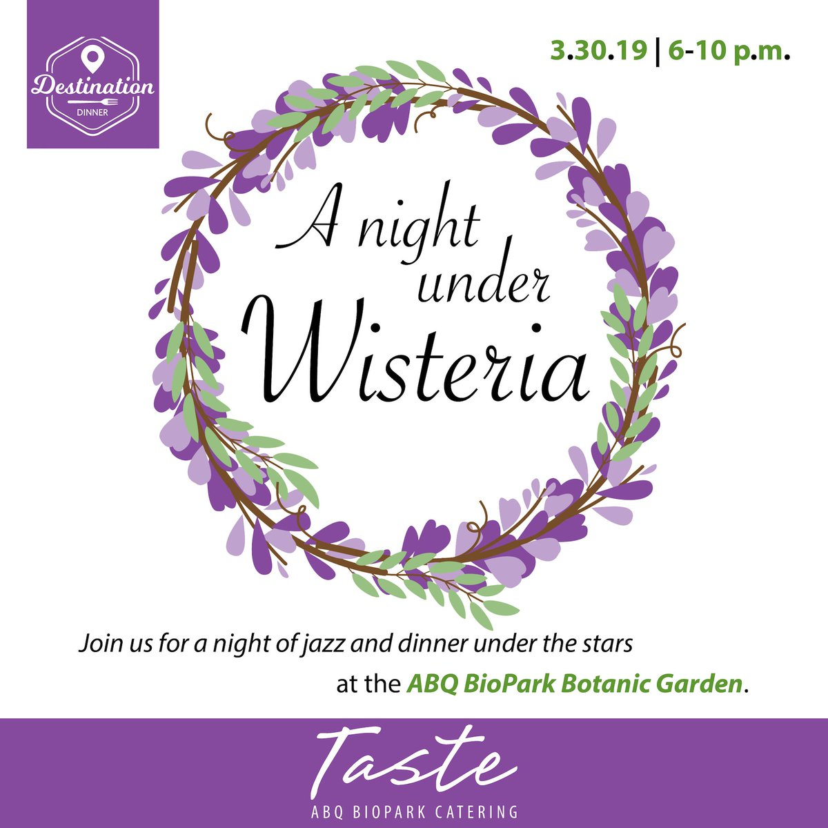 Calling all jazz cats! Join us for an evening of music and dinner under the stars with A Night Under Wisteria, a #DestinationDinner presented by Taste ABQ BioPark Catering on 3/30 6-10 p.m. Space is limited, so RSVP now: http://bit.ly/2Dm1RJ7 #ABQBioPark #BotanicGarden