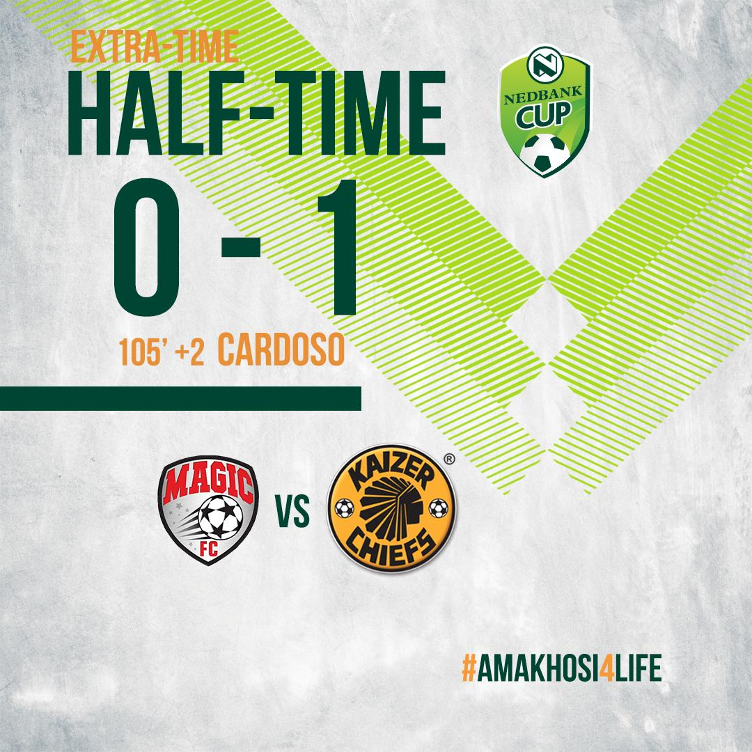 15 + 2' (ET)| #MAGIC 0 : 1 #CHIEFS  Half time score. The Magic FC 0 : 1 Kaizer Chiefs.   #NedbankCup #HailTheChief