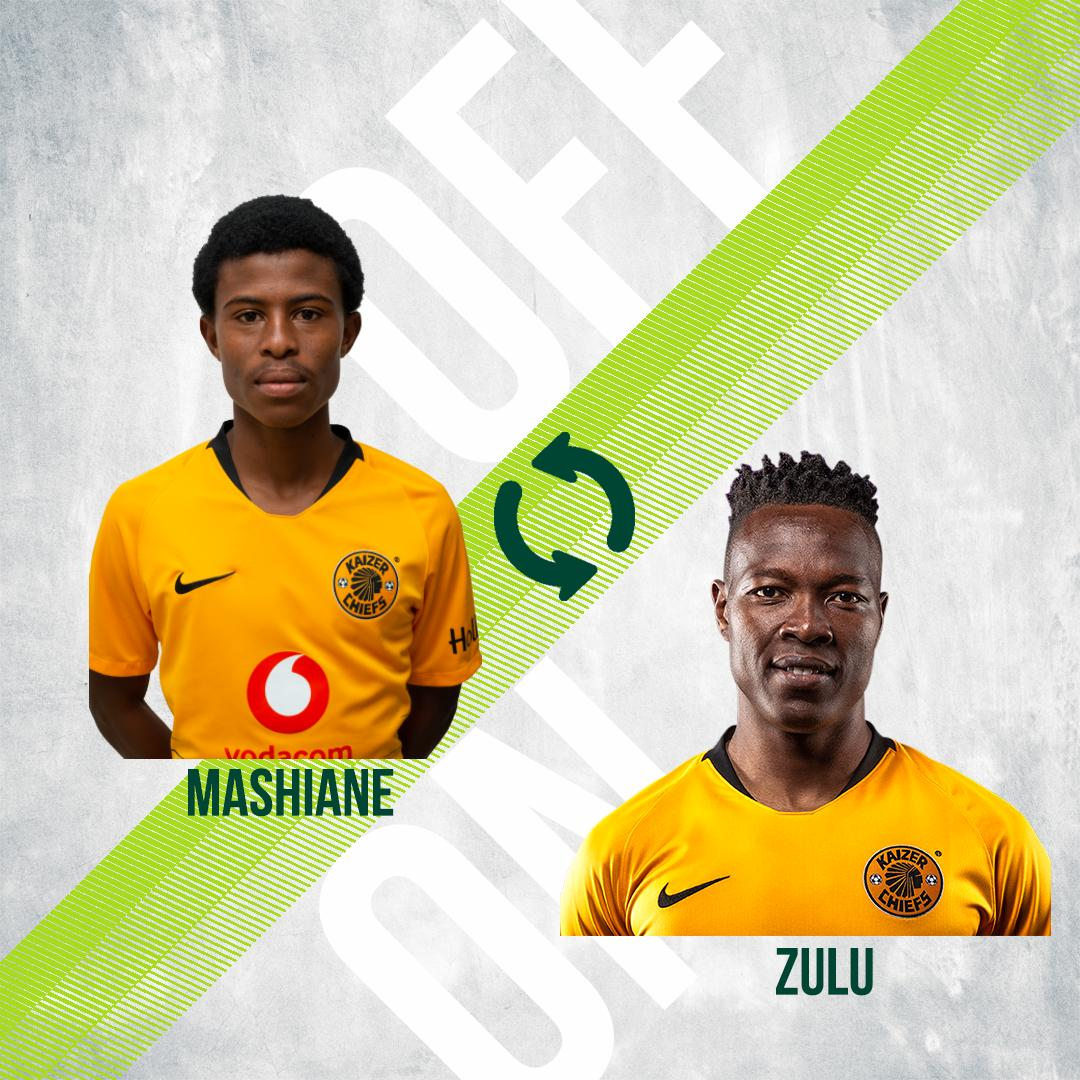16' (ET)| #MAGIC 0 : 1 #CHIEFS  Substitution: Mashiane (OFF) and Zulu (ON)  #NedbankCup #HailTheChief