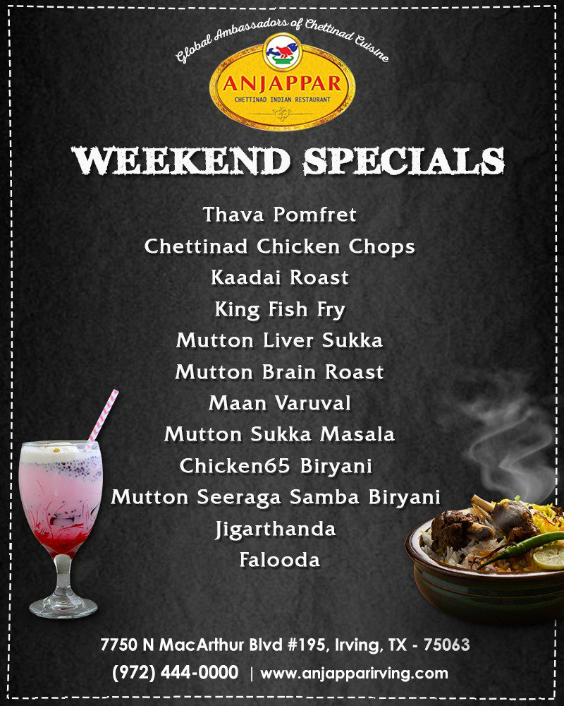 Get ready to relish the taste of weekend specials at Anjappar.  Visit Us: https://www.anjapparirving.com/   #AnjapparChettinad #Foodie #Anjappar #Indianrestaurant #Irving #texas #seafood #Foodielove #tasty #yummy #spicy #delicious #chicken #restaurant #bestfoodinanjappar #weekendspecials