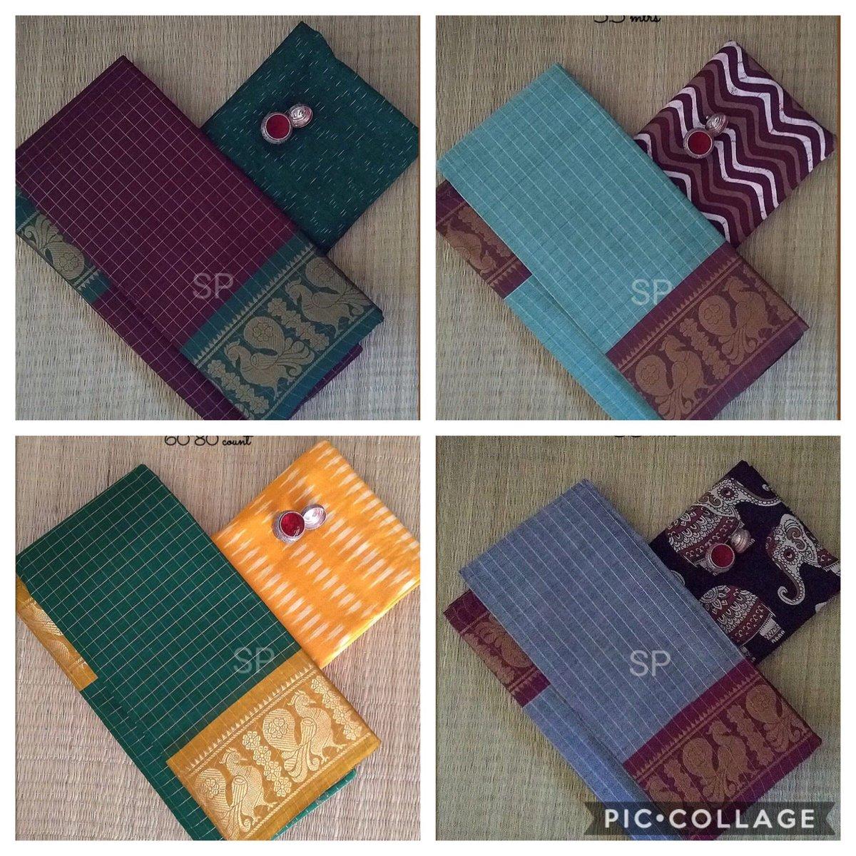 Chettinad Annam zari checked saree paired with ikkat or kalamkari blouse. Pure handloom saree