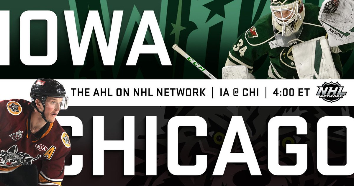 Tune in to @NHLNetwork today at 4 ET to watch the @Chicago_Wolves face off against the @IAWild.