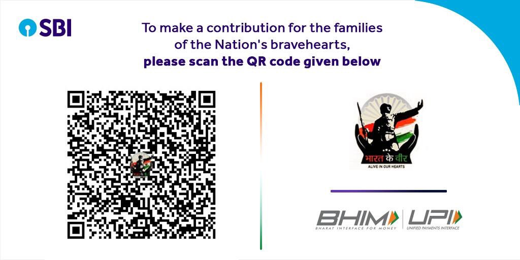 To make contribution for the families of India's bravehearts now you can simply scan the QR code given below. You may also contribute at http://bharatkeveer.gov.in or through UPI using VPA- bharatkeveer@sbi  #BharatKeVeer @NPCI_BHIM @NPCI_NPCI