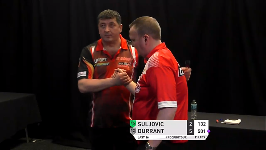 🔴 RESULT: Three-time Lakeside Champion Glen Durrant marches on - he's into the Quarter-Finals for the second time this year after a 6-2 win over Mensur Suljovic with a 99 average!  #PC4