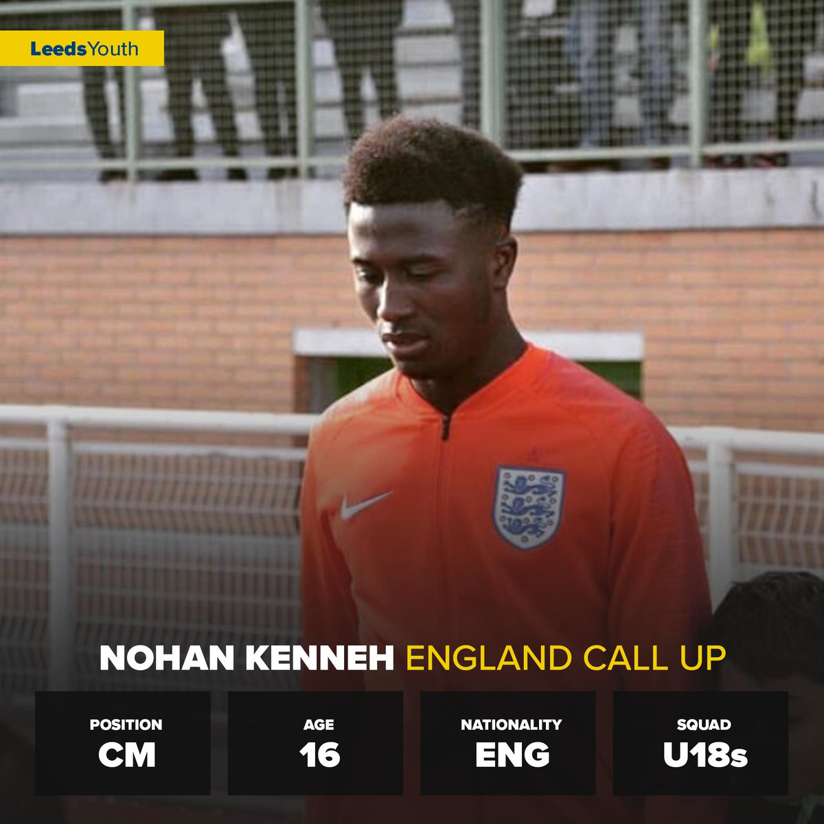 Congratulations to #LUFC U18s midfielder Nohan Kenneh, who has been called up to the England U16s Squad to face Norway, France and Brazil.  Huge Talent   #LeedsYouth<br>http://pic.twitter.com/fVb80QzDAb