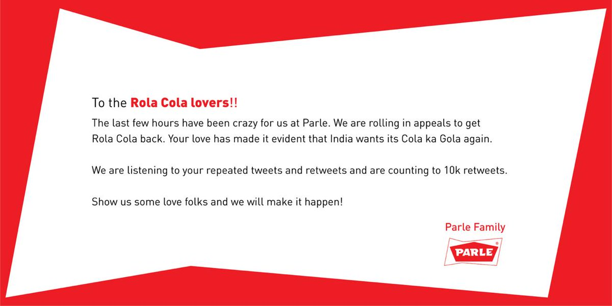 If all you need is Rola Cola, then all we need is 10k retweets. #BringBackRolaCola