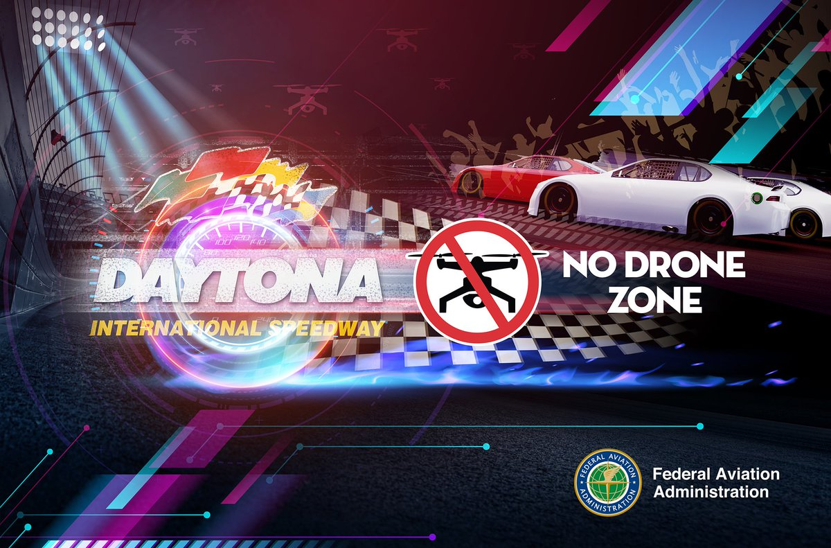 A #NoDroneZone will be in effect within 3-nautical-miles of Daytona Int'l Speedway 1 hour before the scheduled start until 1 hour after @NASCAR #DAYTONA500 ends today. Violators face criminal #prosecution & fines in excess of $30K per violation. https://t.co/r639YPCTXA  #FlySafe